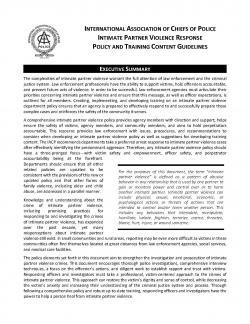 Intimate Partner Violence Response Policy and Training Content Guidelines
